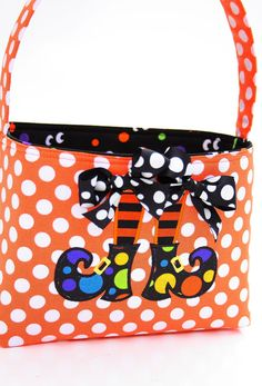 Halloween Trick or Treat basket fabric Applique witch shoes. $25.00, via Etsy.