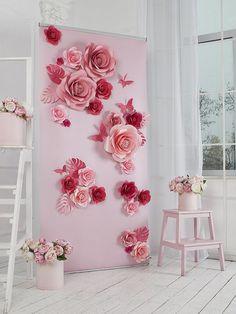Flores flores de papel de telón de fondo escenario por MioGallery