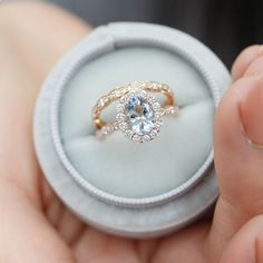 Stunning Oval Aquamarine Ring Bridal Set in Rose Gold Halo Diamond Scalloped Band from La More Design