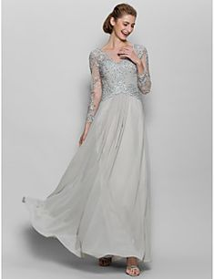 A-line Mother of the Bride Dress Floor-length Long Sleeve Chiffon / Lace with Appliques – USD $ 119.99