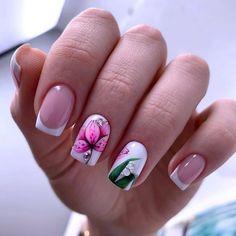 Different Nail Designs, Cool Nail Designs, Green Nails, Pink Nails, Nail Length, Oval Nails, Flower Nail Art, Creative Nails, Nail Polish Colors