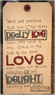 Great advice on loving others.