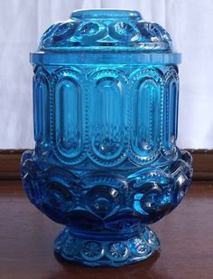 VINTAGE L.E. SMITH BLUE MOON AND STARS FAIRY LAMP LIGHT COURTING CANDLE