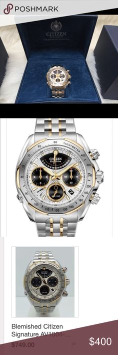 Citizen eco drive men's signature collection Men's citizen echo drive signature collection watch $1600 new selling used online for 700.includes DVD all warranty information and extra links never been worn Citizen Accessories Watches