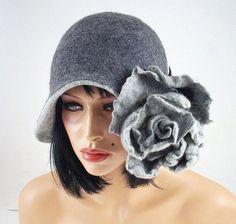 d7ee1007 Felted Hat Art Hat Gray Hat Flapper Hat wild Retro hats Felt wearable art  Nunofelt Nuno felt la belle epoque Eco art deco Fiber Art Much
