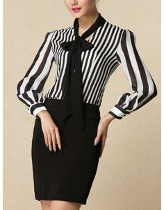 Bowtie Embellished Collar Long Sleeve Stripes Fashion Shirt - MIXMOSS