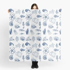'Under the sea' Scarf by EllenBeb Water Blue, Buy Shop, Scarf Design, Under The Sea, Octopus, Turtle, Exotic, Mermaid, Creatures