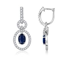 Oval Sapphire and Diamond Hoop Earrings in 14k White Gold