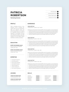 The modern resume template Patricia is designed to showcase your skills and experience in a professional and effective way. The design is optimized for a compact resume that is informative, visually attractive and easy to navigate. Includes one-page resume, cover letter and references templates, extra social media and contact icons, and a detailed user guide. Available for Microsoft Word and Pages for Mac. #resume #resumetemplate #resumedesign #modernresume #cv #cvtemplate #cvdesign… One Page Resume Template, Modern Resume Template, Creative Resume Templates, Cover Letter For Resume, Cover Letter Template, Letter Templates, Cv Words, Resume References, Microsoft Word 2007