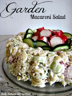 Garden Macaroni Salad Recipe Ingredients 1/4 cup Mayonnaise 1 ( 8-ounce) cream cheese, room temperature 1/4 cup sweet pickle relish 1 tablespoon Dijon mustard 3 cups elbow macaroni, cooked, drained 1 cup chopped cucumber 1/2 cup chopped green pepper 1/2 cup radish slices 2 tablespoons chopped onion 1/2 teaspoon salt Extra cucumber and radishes for garnish