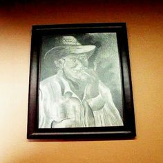 #throwback charcoal painting I did a while back for my bro's cigar shop. #cigar #shop #charcoal #drawing #painting #illustration # oldman #cubancigar #havanalights #portrait #frame #wallart #ivanalexisdesign