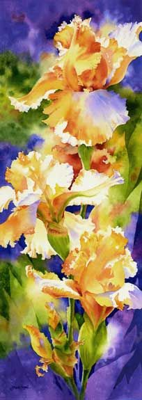 Glory Days I Giclee by Susan Crouch. I love the way the light plays on the Iris in this painting. Watercolour Painting, Watercolor Flowers, Watercolours, Iris Painting, Painting Flowers, Art Floral, Gouache, Flower Art, Art Photography