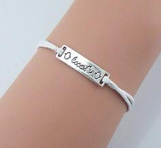 Luck Bracelet Silver Luck Charm Handmade Fashion Jewelry,White Rope Graduation Gift Sailor Bracelet on Luulla