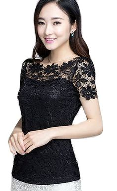 Buy Fashion Elegant Lace Shirts Short Sleeve Women's Tops Blouses Work OL Career in Cheap Price on m.alibaba.com
