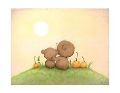 Kunstdruck Wand-Kunst Bären Thanksgiving Herbst
