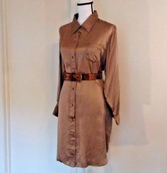 Wintersilks Women's Dress Cocoa Shimmering Brown 100% Silk Button Size M Medium | Clothing, Shoes & Accessories, Women's Clothing, Dresses | eBay!