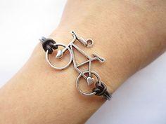 Braceletantique silver 3d love bike leather by lightenme, $3.50