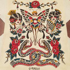 GIUSEPPE MORELLO Type Tattoo, 1 Tattoo, Back Tattoo, Body Art Tattoos, Tattoo Drawings, Traditional Tattoo Flowers, Traditional Tattoo Old School, Traditional Tattoo Design, Graffiti