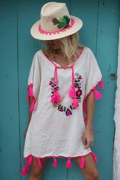 Boho Bluse: Tunika als Strandoutfit für Deinen nächsten Urlaub / boho blouse: tunic as beach outfit for your next vacation made by Aurobelle ibiza via DaWanda.com
