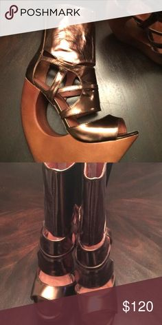 Jeffrey Campbell's Metallic Bronze cage like wedge heels from JC basically new. Will definitely turn heads believe me! Offers welcome 💖 Jeffrey Campbell Shoes Platforms