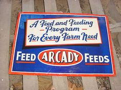 1940s Vintage ARCADY FEEDS Old 28 x 20 inch Embossed Tin Sign
