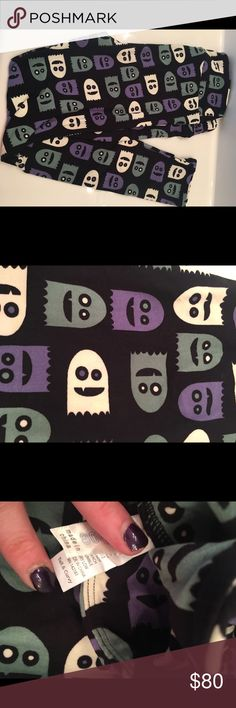 LuLaRoe TC leggings Halloween pacman ghost Rare unicorn  print super cute and Uber soft. Offers are welcome, but 25 is not a reasonable offer. If you can buy these from a consultant please do. LuLaRoe Pants Leggings