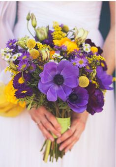 Purple and Yellow Bouquet for bridesmaids, SMALLER scale @Lisa Phillips-Barton Wilson