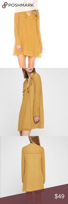 BCBG Generation Long-Sleeve Ruffle A-Line Dress BCBG Generation Long-Sleeve Ruffle A-Line Dress in Gold/Tan NWT BCBGeneration Dresses