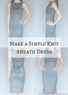 See how I made this simple, versatile knit sheath dress using only two pieces of fabric and very limited sewing skills | sew a knit dress, easy sewing project, sew a work dress