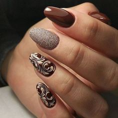 77 Trendy Brown Nail Art Designs and Ideas - Brown nail designs are of great diversity because they have dominated the market since a long time - Brown Nail Art, Brown Nails, Love Nails, Pretty Nails, My Nails, Winter Nail Designs, Nail Art Designs, Nails Design, Winter Nails
