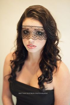 "Strapless Halloween Mask - Elegant Black Lace Veil Women's Dramatic Costume Eye Mask - Adheres to Skin - No Strings - ""The Sibylla"""