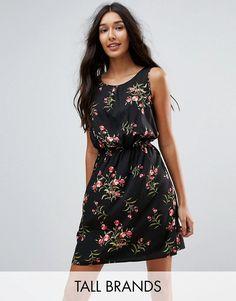 #ASOS - #New Look Tall New Look Tall Floral Print Shirred Waist Dress - Black - AdoreWe.com