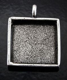 3 Deep Dish Pendant pewter square P2011 by HHHdesigns on Etsy, $11.95