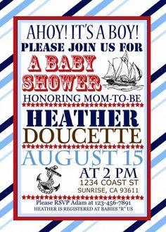 Printable Nautical Baby Shower Ships Ahoy Invitation