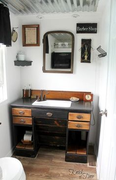 From antique desk to cool bathroom vanity, by Knick of Time, featured on http://www.funkyjunkinteriors.net/