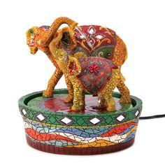 Asian Elephant And Calf Indoor Fountain Tabletop Water Fountain Lucky Elephant #HomeLocomotion