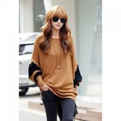 Sophisticated Style Scoop Neck Splicing Contrast Color Long Sleeve T-Shirt For Women