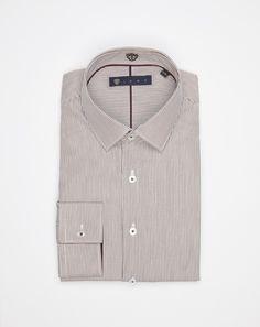 Chemise manches courtes col Mao coton mélangé ocre foncé aspect carreaux ouverte