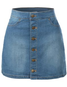 LE3NO Womens Demin A-Line Button Down Mini Skirt with Pockets
