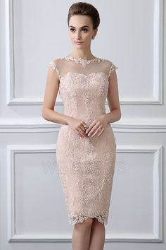Sheath/Column Jewel Neck Knee-length Mother of the Bride Dress With Lace Beading