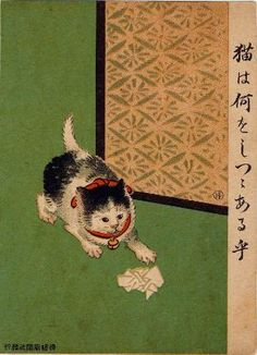 What Is the Cat Trying To Do? (Neko wa nani o shitsutsu aruka?) from Ehagaki sekai, Japanese, Late Meiji era, 1908, by Komeno Hakusui