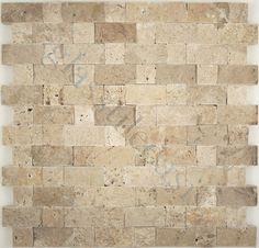 Tuscan Glass  Brick Series, Random Bricks, Noce & Classic Mix Band Split Face, Tumbled, Cream/Beige, Stone