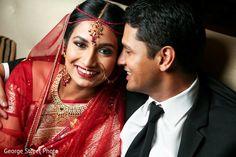 Indian wedding photography. Couple photo shoot ideas. Traditional Indian bride wearing bridal saree, jewellery and hairstyle. #IndianBridalMakeup #IndianBridalFashion