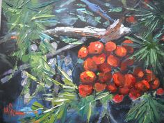 "Winter Berries by Carol Schiff | $100 | 8""w x 6""h 