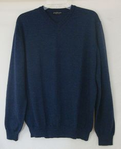 Joseph & Lyman Italy Sweater Navy Merino Wool Long Sleeve VNeck Men Large SOFT #JosephLyman #VNeck