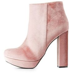 Charlotte Russe Velvet Platform Ankle Booties (355 ARS) ❤ liked on Polyvore featuring shoes, boots, ankle booties, heels, ankle boots, pink, mauve, block heel boots, pink booties and velvet booties