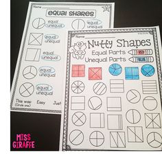 Equal parts or unequal parts worksheets and activities - color by if the shape has equal shares or not - great fractions activities for first grade Teaching Fractions, Math Fractions, Teaching Math, Teaching Ideas, Maths, Teaching Resources, First Grade Math Worksheets, 1st Grade Math, Grade 1