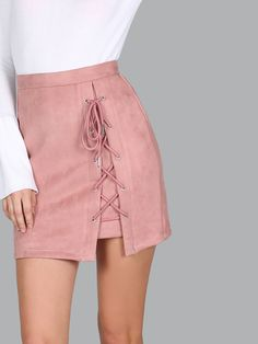 Shop Criss Cross Lace Up Skirt MAUVE online. SheIn offers Criss Cross Lace Up Skirt MAUVE & more to fit your fashionable needs.