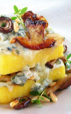Pressure Cooker Polenta Lasagna with wild mushrooms and gorgonzola cheese.
