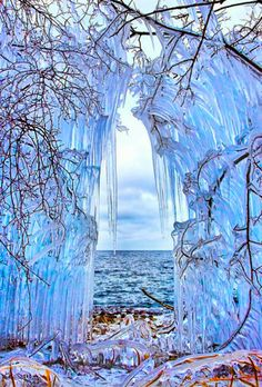 Ice Curtain in The Shore of Lake Baikal, Siberia Russia